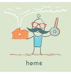 Man with a house and key vector