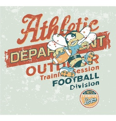 Vintage athletic department with wasp character vector