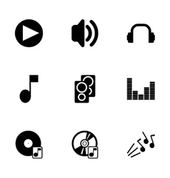 Black sound icons set vector