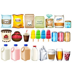 A group of foods and drinks vector