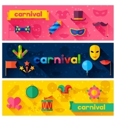 Celebration festive banners with carnival flat vector