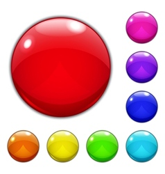 Set of big multicolored glass buttons vector