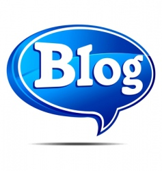 Blog bubble blue vector
