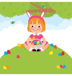 Happy children in rabbit costume for easter holida vector