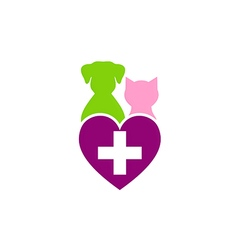 Dog cat pet medical love logo vector