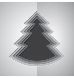 Grey paper cutout christmas tree vector