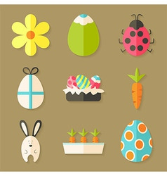 Easter icons set with shadows over light brown vector