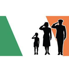 Ireland soldier family salute vector