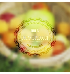 Label for organic health food with blurred vector