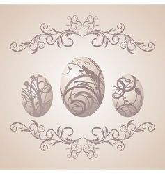 Vintage easter background with eggs vector