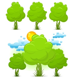 Green trees with grass vector