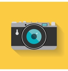 Flat retro photo camera web icon vector