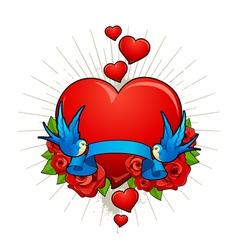 Hearts with birds vector