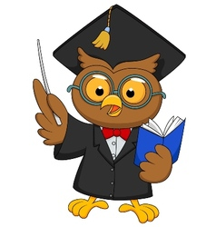 Cartoon owl wearing a graduation uniform giving a vector