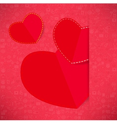 Red paper heart valentines day card with sign on i vector