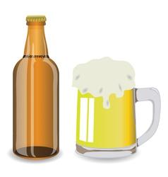 Bottle and mug of beer vector