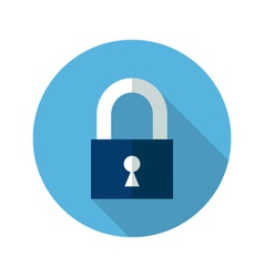 Blue closed padlock icon vector