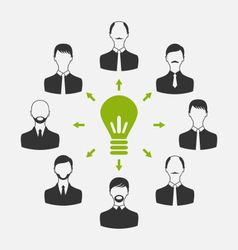 Group of business people gather together process vector
