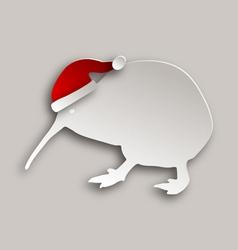 Kiwi with christmas cap vector