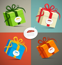 Paper retro 3d gift boxes set vector