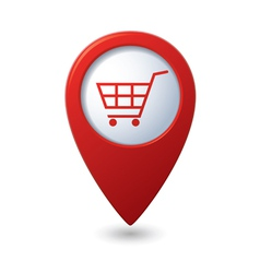 Shop basket icon red pointer vector