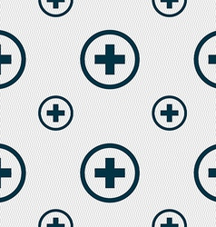 Plus positive zoom icon sign seamless pattern with vector