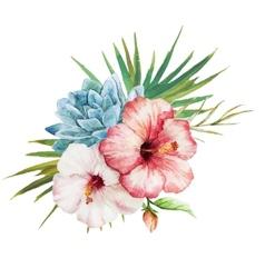 Watercolor tropical flowers vector