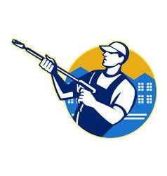 Power washing pressure water blaster worker vector
