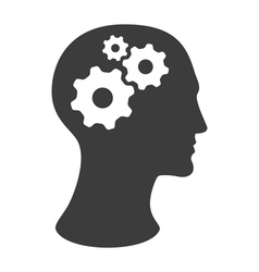 Human head silhouette with gears vector