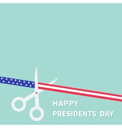 Presidents day scissors cut american flag ribbon vector