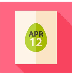 Easter piece of paper with date 12 april and egg vector