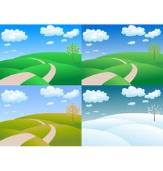 Four seasons landscape vector