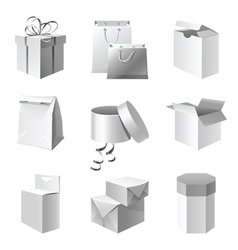 Paper package icons set vector
