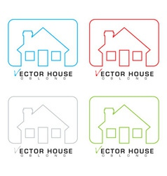 House icon outline set vector