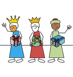 Stick figure three wise men gifts vector