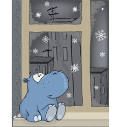 Sad hippopotamus at a window cartoon vector