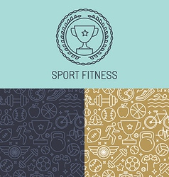 Sport badge and seamless pattern vector