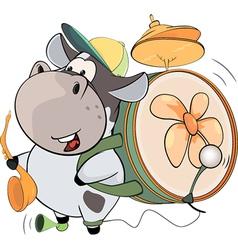 A cow one man band cartoon vector