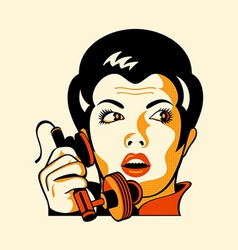 Retro phone woman vector