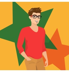 Handsome guy wearing glasses close-up vector