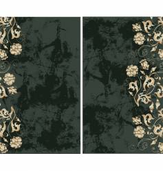 Grunge background with gold flowers vector