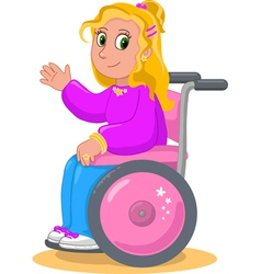Pretty girl on wheelchair vector