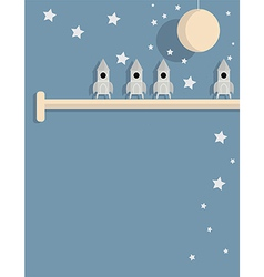 Spaceships on shelf vector