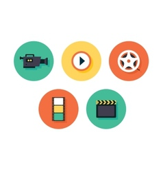 Film icons multimedia set vector