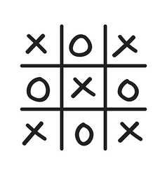 Hand drawn tic tac toe game vector