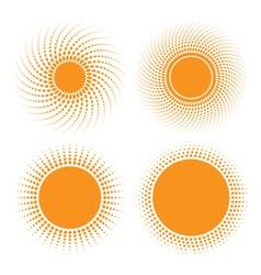Set of sun halftone design elements vector