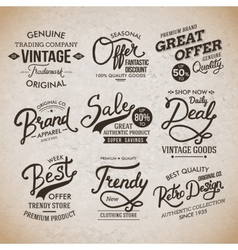 Vintage fashion labels on light brown background vector