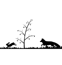 Silhouette of fox and hare in the grass vector