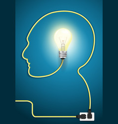 Head line with light bulb vector