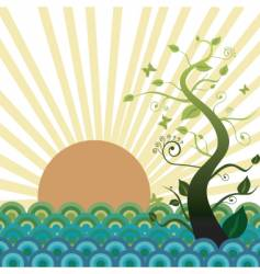 Sun sea and nature vector